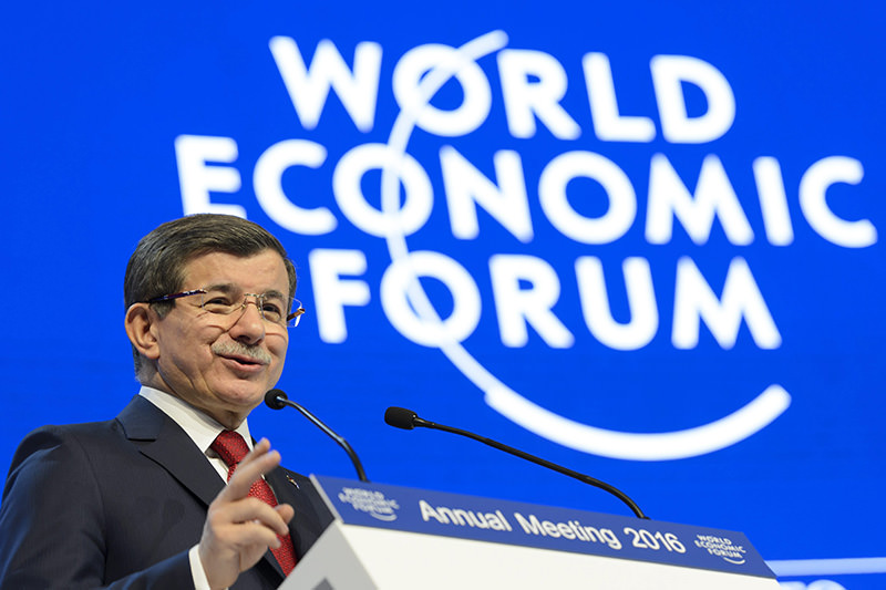 PM Davutou011flu during a panel session during the 46th Annual Meeting of the World Economic Forum, WEF, in Davos, 21 Jan 2016 (EPA photo)