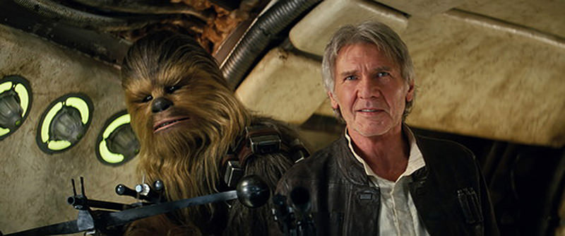 Photo shows Han Solo and Chewbacca from Star Wars: The Force Awakens. (AP Photo)