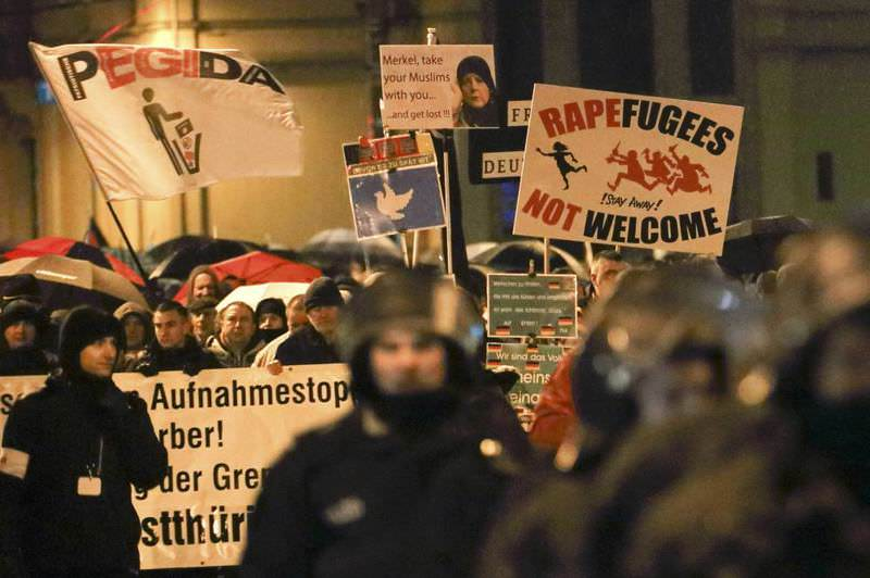 Members of LEGIDA, the Leipzig arm of the anti-Islam movement PEGIDA, take part in a rally in Leipzig, Germany on Jan. 11.
