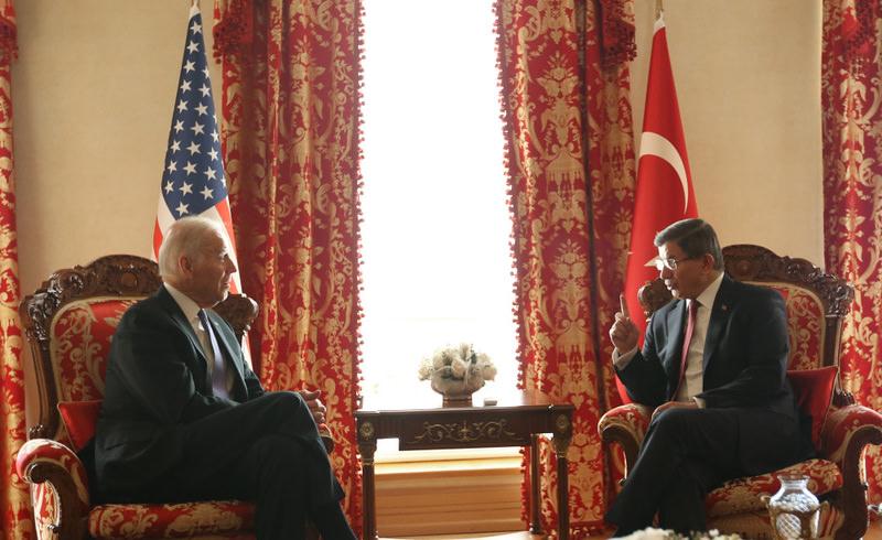 U.S. Vice President Biden (L) with Prime Minister Davutou011flu in a bilateral meeting in u0130stanbul on Saturday.