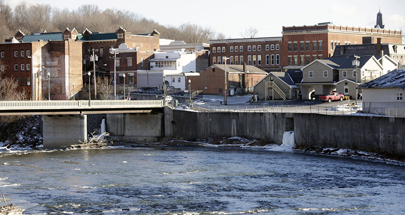 The Hoosic River runs through the village of Hoosick Falls, N.Y. Federal regulators have warned residents of the upstate New York factory village near the Vermont border not to drink water from municipal wells (AP Photo)