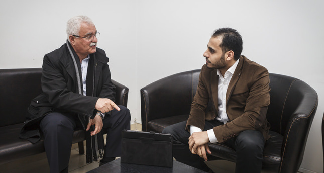 Head of the Syrian National Council Sabra (L) with Daily Sabah's Amer Solyman. (Photo by Metin Arabacı)