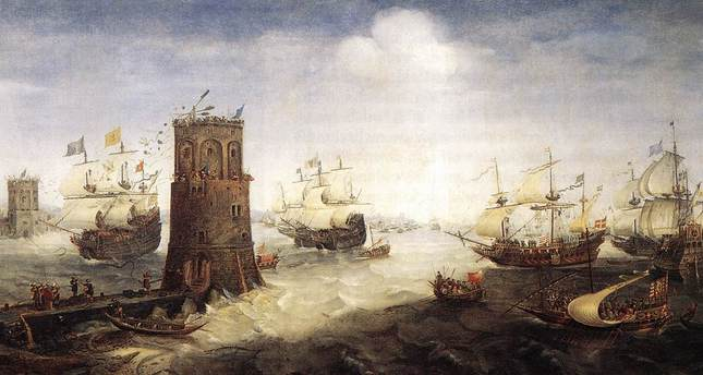 Frisian crusaders confront the Tower of Damietta, Egypt.