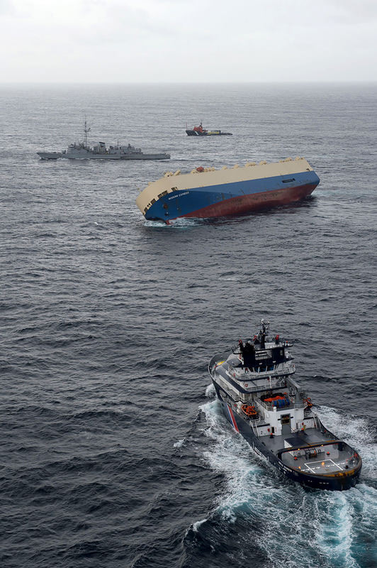,Modern Express, was carrying 3,600 tons of lumber and construction machinery., the crew was airlifted by helicopter to safety as the ship listed. (AFP Photo)