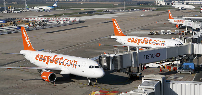 A general view shows easyJet aircraft sitting on the tarmac at Orly airport, near Paris, in this file photograph dated April 9, 2015. (Reuters Photo)