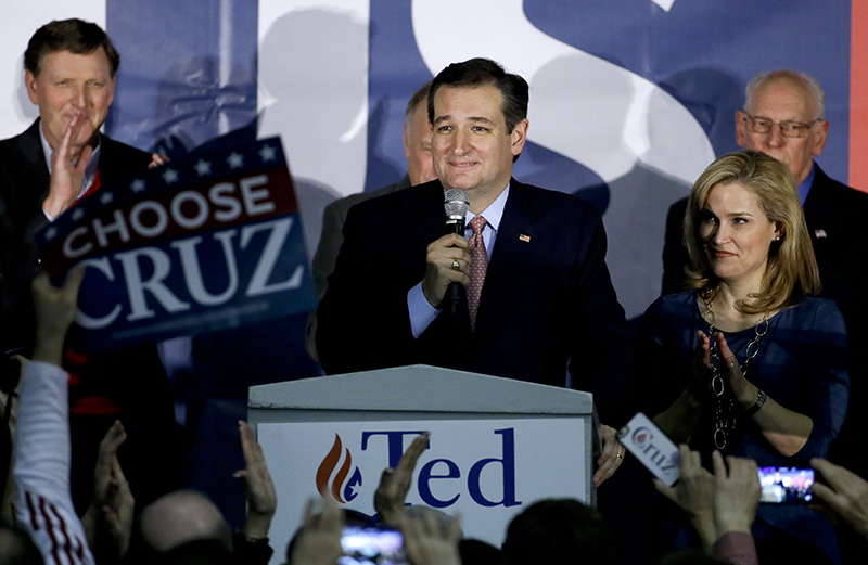 Republican presidential candidate, Sen. Ted Cruz, R-Texas, speaks during a caucus night rally, Monday, Feb. 1, 2016, in Des Moines, Iowa. (AP Photo)
