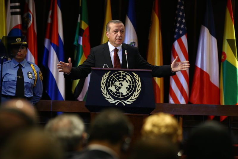 President Erdou011fan speaks at a conference at the building of the Economic Commission for Latin America and the Caribbean on Monday.