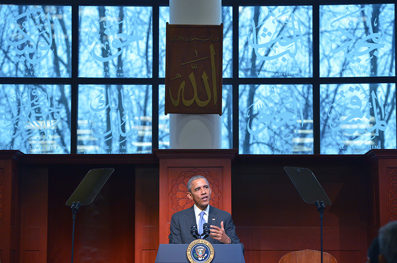 US President Barack Obama speaks at the Islamic Society of Baltimore, in Windsor Mill, Maryland on February 3, 2016 (AFP Photo)