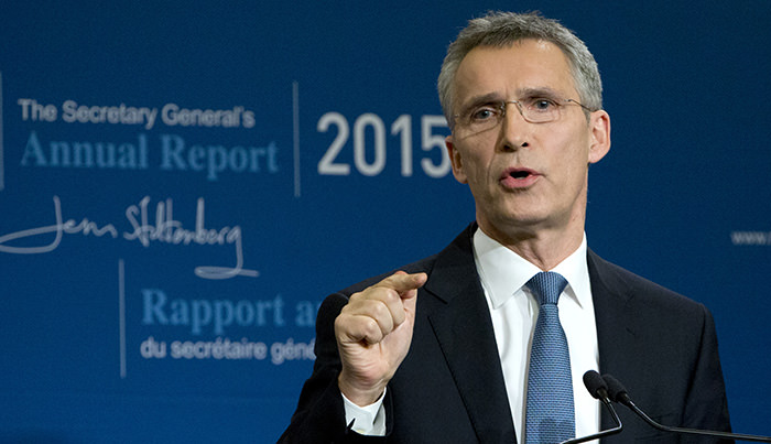 NATO Secretary General Jens Stoltenberg speaks during a media conference as he presents the NATO annual report in Brussels on Thursday, Jan. 28, 2016 (AP Photo)