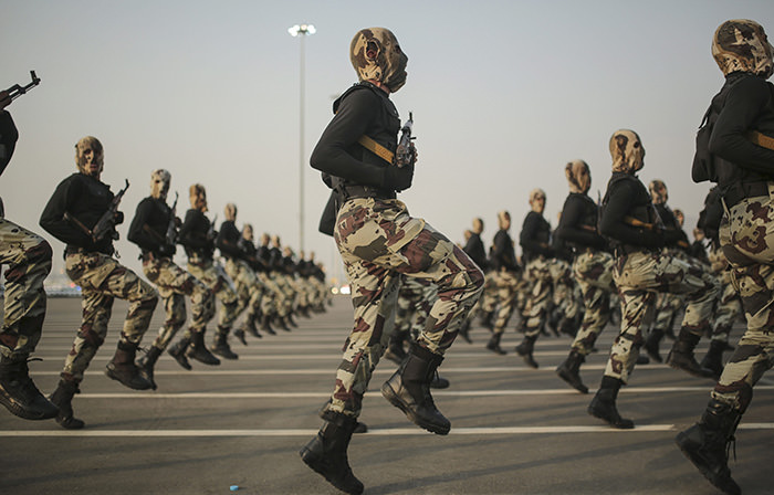 Saudi security forces take part in a military parade (AP Photo)
