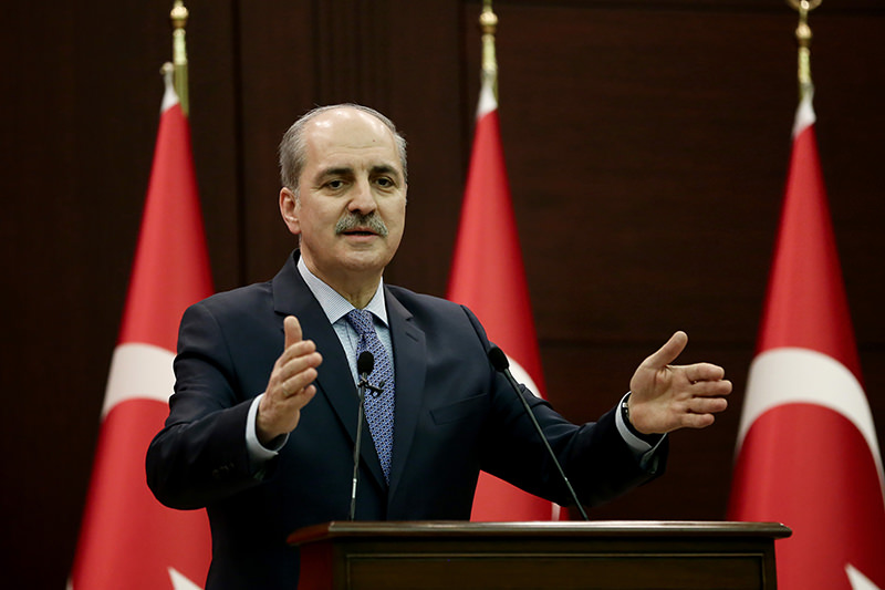 Deputy PM Kurtulmuu015f said some 77,000 Syrians are being given assistance in displaced persons camps in Syria along the border with Turkey. (AA Photo)
