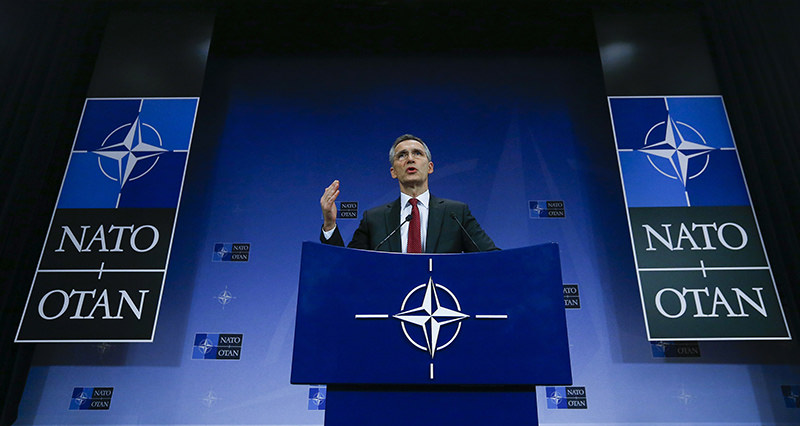 NATO Secretary-General Jens Stoltenberg holds a news conference ahead of a NATO defense ministers meeting, which will be held on February 10-11 (Reuters Photo)