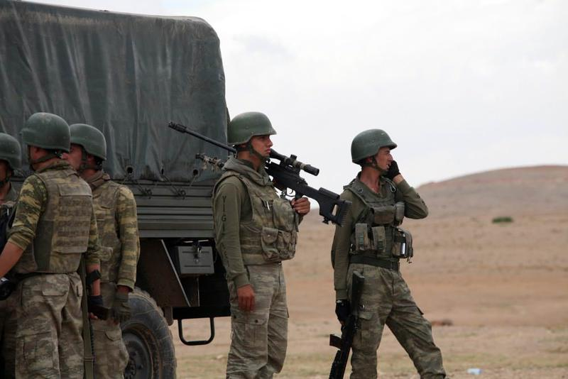 Turkish soldiers waiting on the country's borders with Syria and Iraq in 2014.