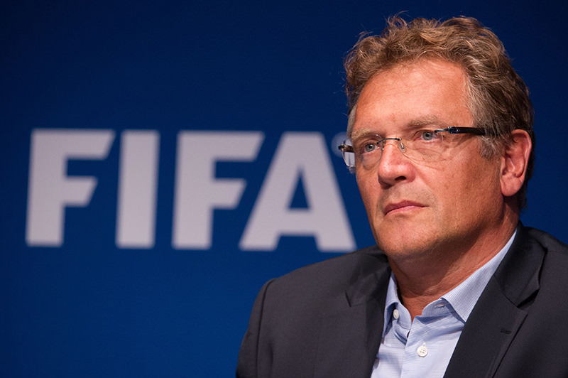 FIFA secretary general Jerome Valcke attending a press conference at the FIFA headquarters in Zurich, on October 21, 2011. (AFP Photo)