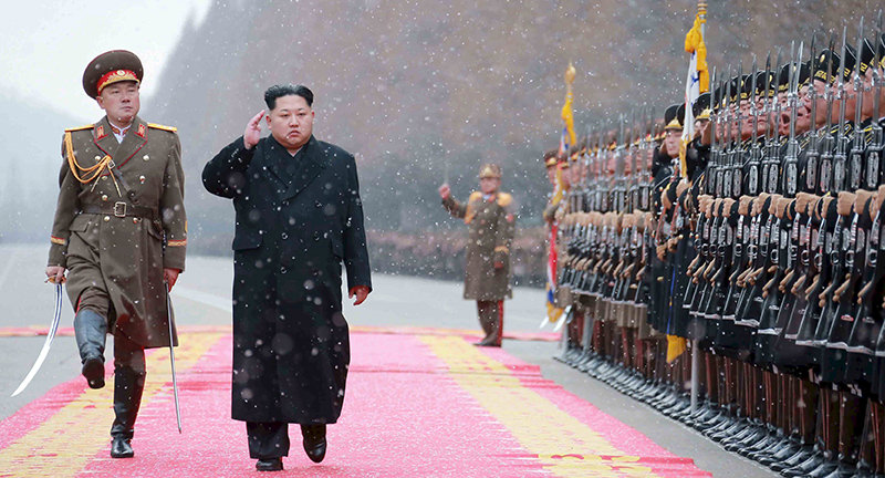 North Korean leader Kim Jong Un salutes during a visit to the Ministry of the People's Armed Forces on the occasion of the new year (Reuters Photo)