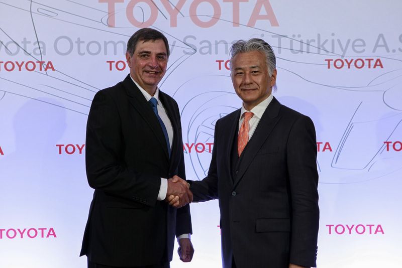 Toyota Motor Europe CEO Johan van Zyl (R) and Toyota Turkey Marketing CEO Ali Haydar Bozkurt (L) meet at a press conference where the new investment was announced.