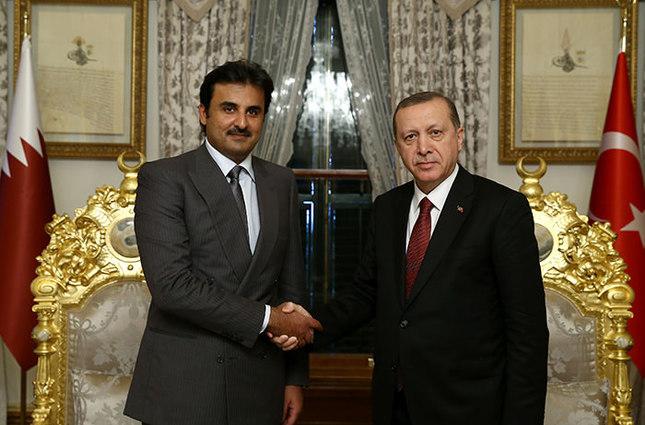 President Recep Tayyip Erdoğan and Qatari Emir Sheikh Tamim bin Hamad al-Thani at the Grand Mabeyn at the Yıldız Palace in Istanbul on Feb. 12, 2016 (AA Photo)