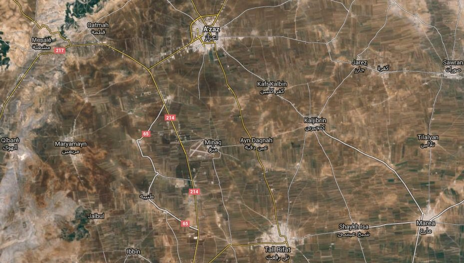 The airbase, which is seen resembling the letter X in the middle of the map, is located next to the village of Mannagh (Minaq) and has a strategic position between the towns of Azaz, Marea and Tall Rifat in northern Aleppo. (Google Maps)