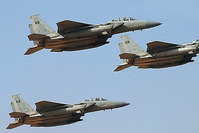 A file picture taken on January 1, 2013 shows jet fighters of the Saudi Royal air force performing during the graduation ceremony (AFP Photo)