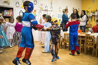 Children dressed in fancy costumes dance during the carnival celebrations in the Children's House Kindergarten in Nyiregyhaza, Hungary (EPA Photo)