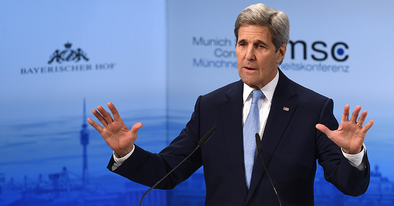 US Secretary of State John Kerry speaks during the second day of the 52nd Munich Security Conference (MSC) in Munich, southern Germany, on February 13, 2016 (AFP Photo)