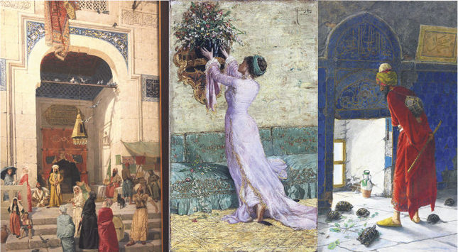 Green Mosque (L), A Girl Arranging A Vase For Flowers (C) and The Tortoise Trainer