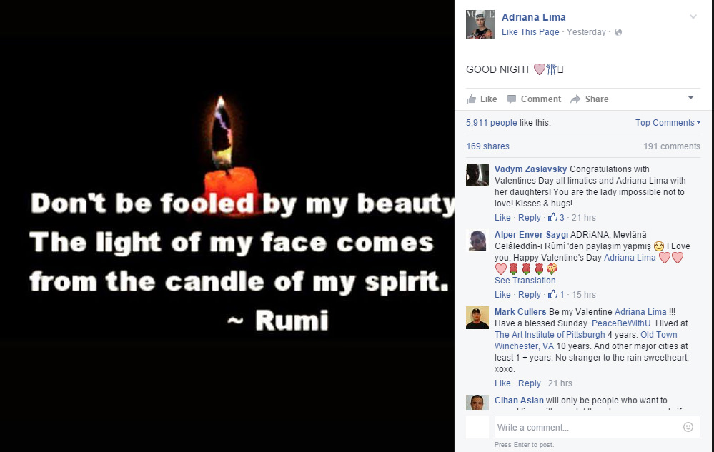 Citaten Rumi Instagram : Top model adriana lima shares rumi quotes on facebook