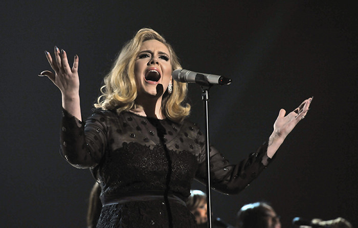 Singer Adele performs onstage at The 54th Annual GRAMMY Awards at Staples Center on February 12, 2012 in Los Angeles, California. (Photo by Lester Cohen/WireImage)