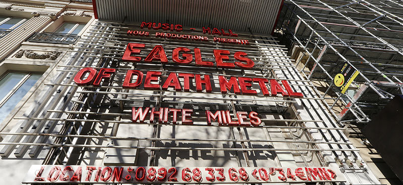 Letters which spell Eagles of Death Metal to announce the concert of the group known as EODM are seen at the Olympia concert hall in Paris, France, February 16, 2016 (Reuters Photo)