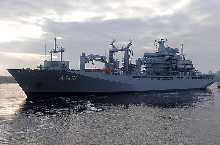 In this Jan. 14, 2014 file picture the supply ship Bonn leaves the German navy base Wilhelmshaven , Germany (AP Photo)