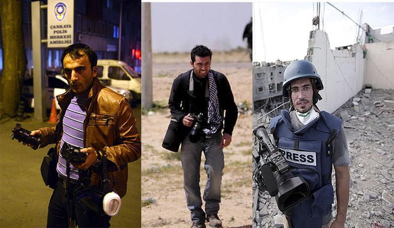 Anadolu Agency correspondent Rauf Maltau015f (L), photojournalist Onur u00c7oban (C) and cameraman Kenan Yeu015filyurt (R)