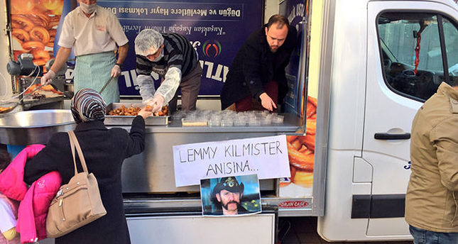 Loyal Turkish Motörhead fans distribute traditional lokma 'in memory of Lemmy Kilmister'.