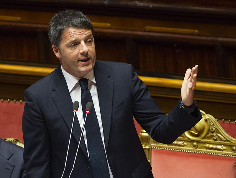 Italian Premier Matteo Renzi delivers a speech at the Senate ahead of the February 18-19 EU Summit, in Rome, Italy, 17 Feb 2016 (EPA)