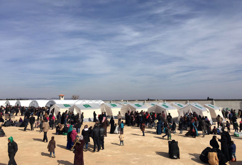 A temporary refugee camp built by the Turkish aid group IHH for displaced Syrians in the Azaz region.