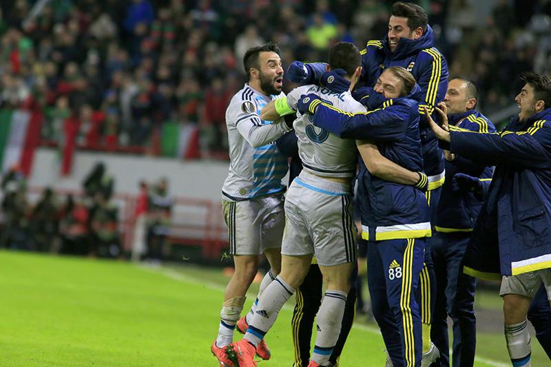 Fenerbahu00e7e advanced to the last 16 of UEFA Europa League on Feb 25, 2016. (AA Photo)