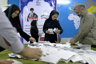 Election officials count ballot papers after the close of polling stations during elections for the parliament and a leadership body called the Assembly of Experts (Reuters Photo)