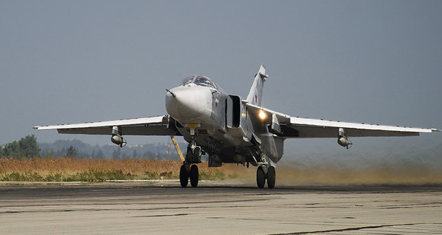 Russian Su-24 takes off on a combat mission at Hemeimeem airbase in Syria. (AP Archive Photo)