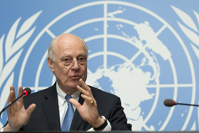 Staffan de Mistura, UN Special Envoy of the Secretary-General for Syria, speaks during a press conference about the beginning of a cessation of hostilities in Syria. (AP Photo)