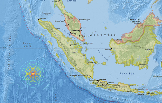 A screenshot of an interactive map provided on the website of the US Geological Survey (USGS) on 02 March 2016 shows the location of an earthquake in a depth of about 10 kilometers southwest of Sumatra, Indonesia  EPA