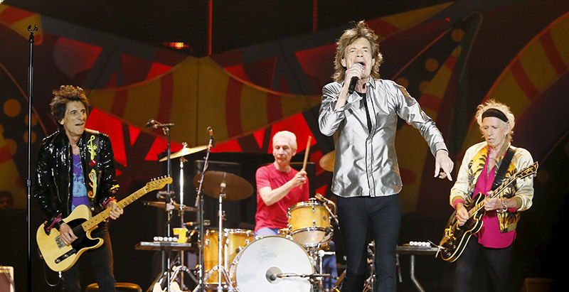 The Rolling Stones Mick Jagger sings next to band member Keith Richards, Ronnie Wood and Charlie Watts during a concert on their ,Latin America Ole Tour, in Santiago, Chile, in this file photo taken February 3, 2016 (Reuters Photo)