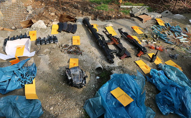 Weapons seized by Turkish security forces in an operation on PKK terrorists in southeastern Şırnak province on Feb. 26, 2016. (AA Photo)