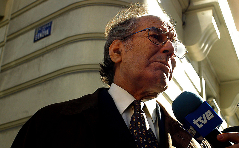 In this Feb. 21, 2005, file photo, Nobel Peace Prize winner Adolfo Perez Esquivel answers a journalist's questions at the Spanish National Court in Madrid, Spain (AP Photo)