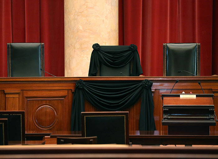 The bench where the late Justice Antonin Scalia would sit when court was in session, at the US Supreme Court building, February 17, 2016 in Washington (AFP Photo)
