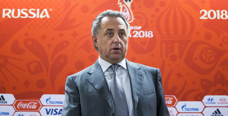 Sports Minister Vitaly Mutko speaks at a news conference in Moscow on Tuesday, Nov. 24, 2015 (AP Photo)