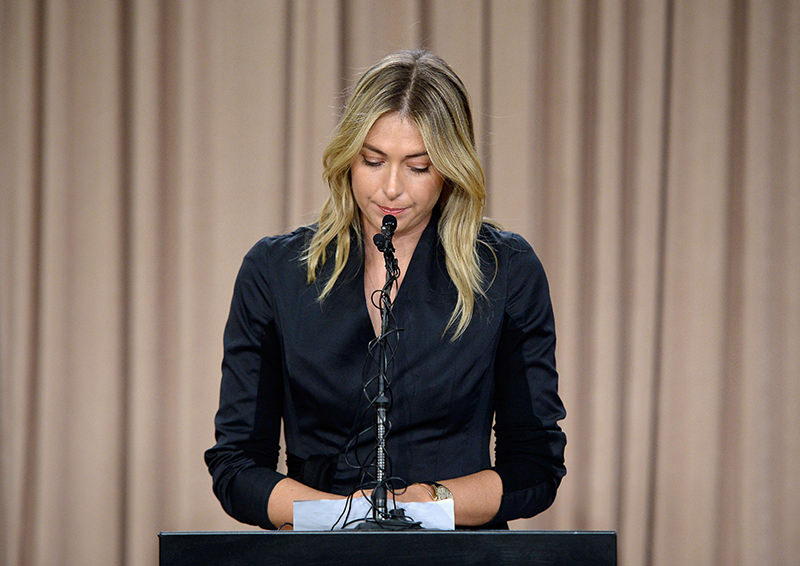 Tennis player Maria Sharapova addresses the media regarding a failed drug test at The LA Hotel Downtown on March 7, 2016 in Los Angeles. (AFP Photo)