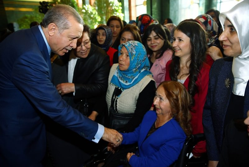 Erdou011fan met women from across the country on the occasion of International Women's Day at the Presidential Palace.
