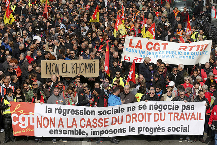 French labour union workers attend a demonstration against the French labour law proposal in Marseille, France, as part of a nationwide labor reform protest, March 9, 2016 (Reuters Photo)