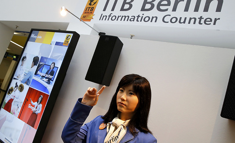 Communication android 'Chihira Kanae' gives out advice at an information counter at the International Tourism Trade Fair (ITB) in Berlin, Germany, March 9, 2016.  (Reuters Photo)