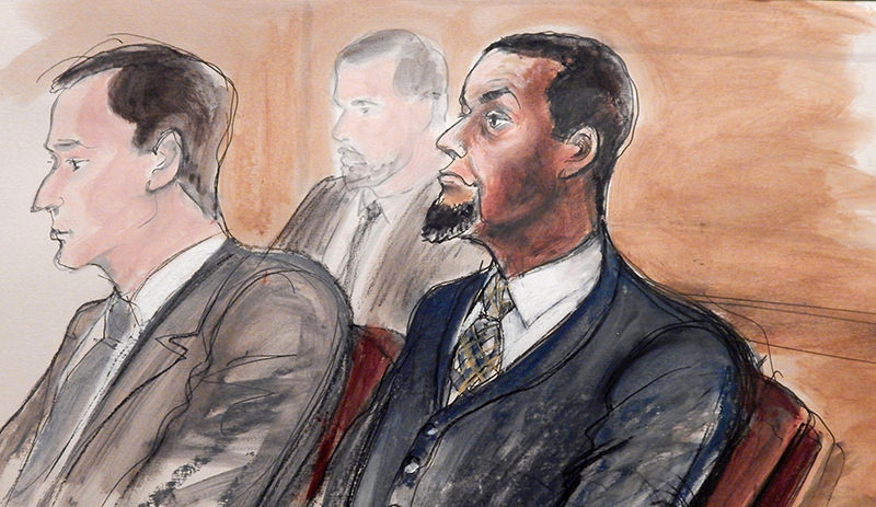 In this Feb. 24, 2016, courtroom file sketch, Tairod Nathan Webster Pugh, right, sits at the defense table with his attorney Zachary S. Taylor, during jury selection in a federal court in the Brooklyn borough of New York. (AP Photo)