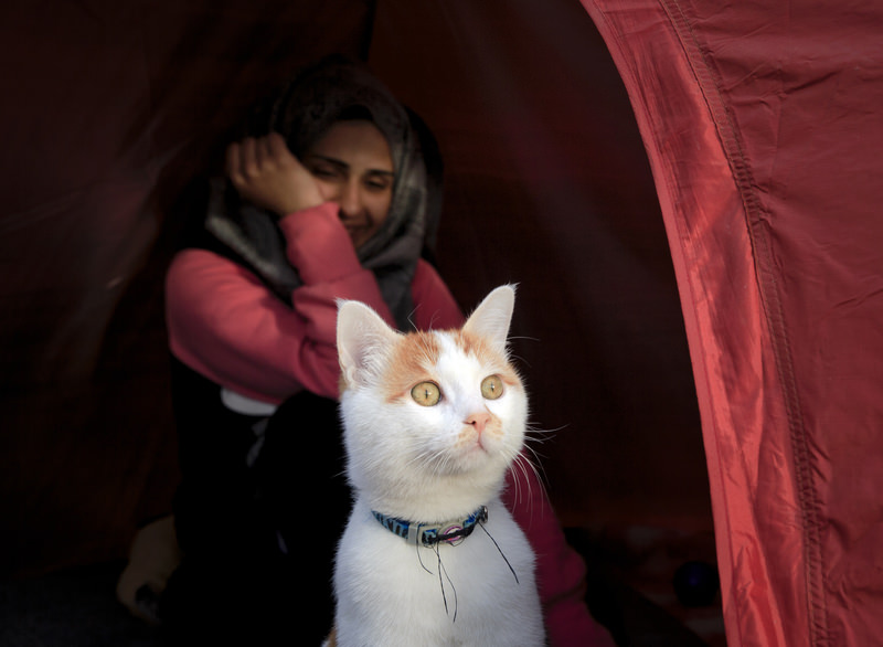 Abeed, her husband and daughter are stuck with about 14,000 others at the Greece-Macedonia border, where sharp stones poke up through the thin bottom of a small tent donated by the Red Cross that is their temporary home.